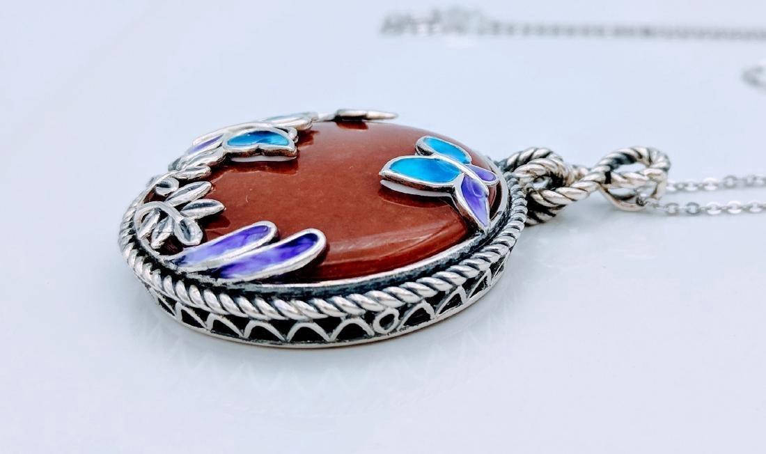 Sterling Silver Jasper Butterfly Pendant Necklace - 2