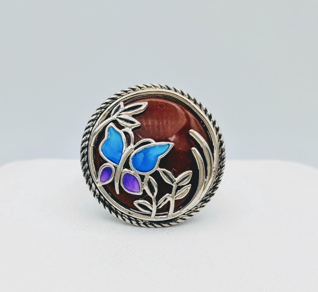 Sterling Silver Jasper Enamel Butterly Design Ring