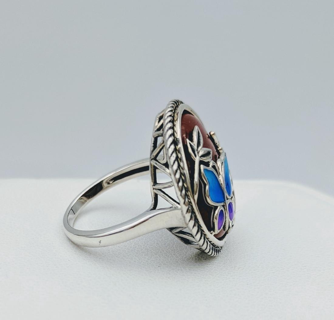 Sterling Silver Jasper Enamel Butterly Design Ring - 3