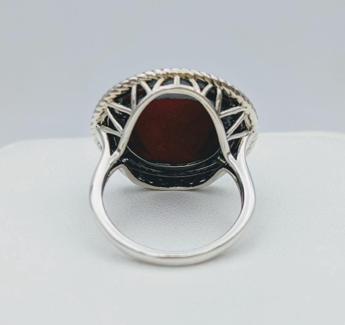 Sterling Silver Jasper Enamel Butterly Design Ring - 4