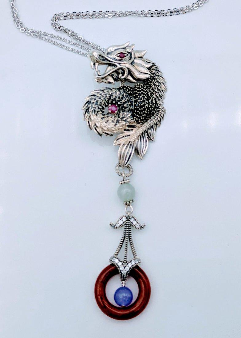 Sterling Ruby Jade Jasper Figural Dragon Necklace