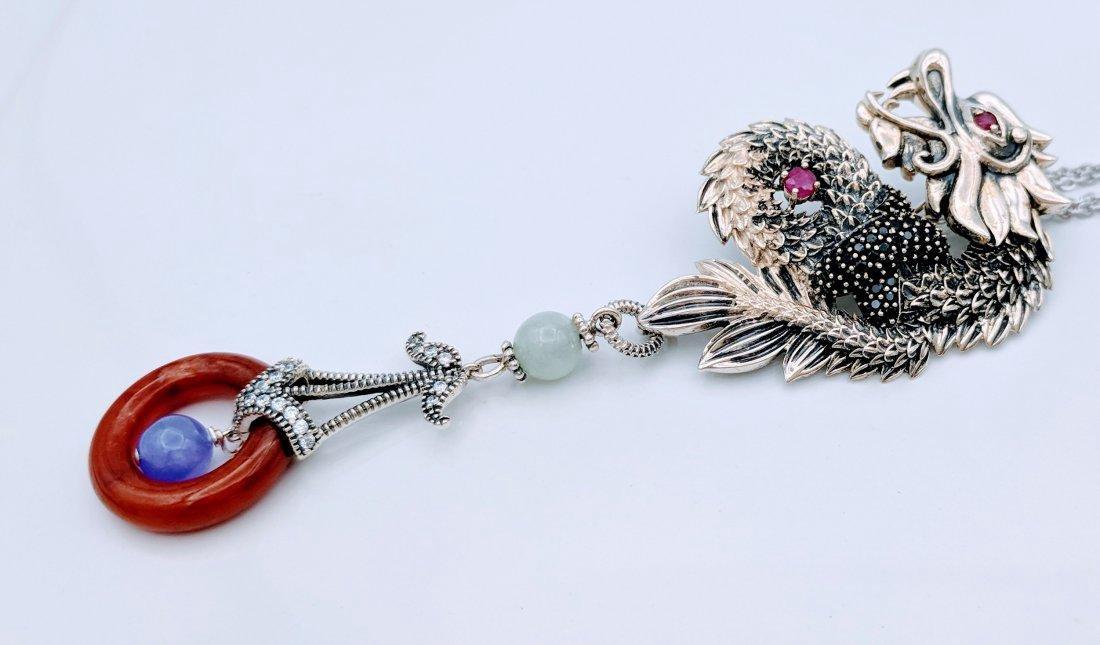 Sterling Ruby Jade Jasper Figural Dragon Necklace - 2