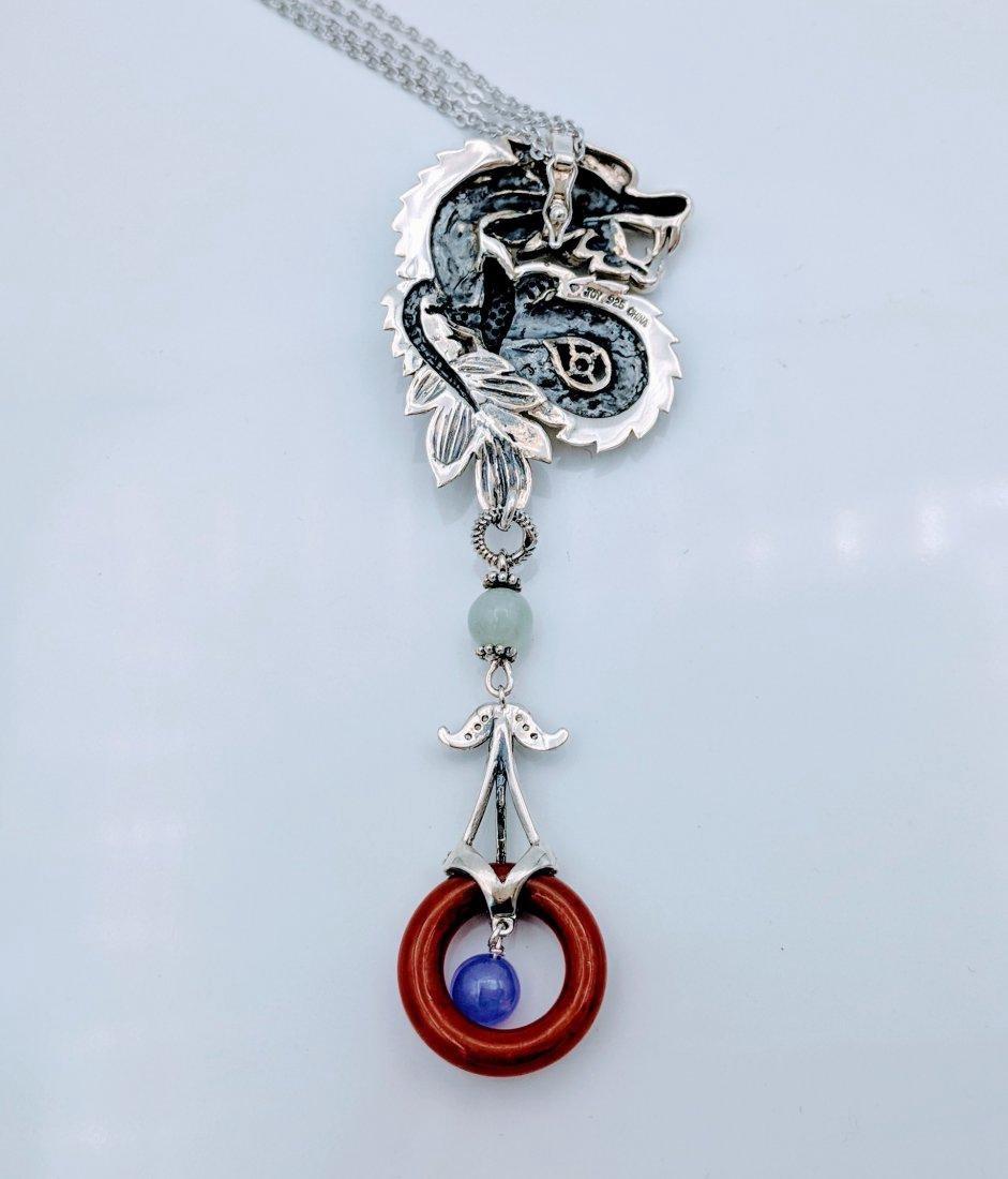 Sterling Ruby Jade Jasper Figural Dragon Necklace - 3