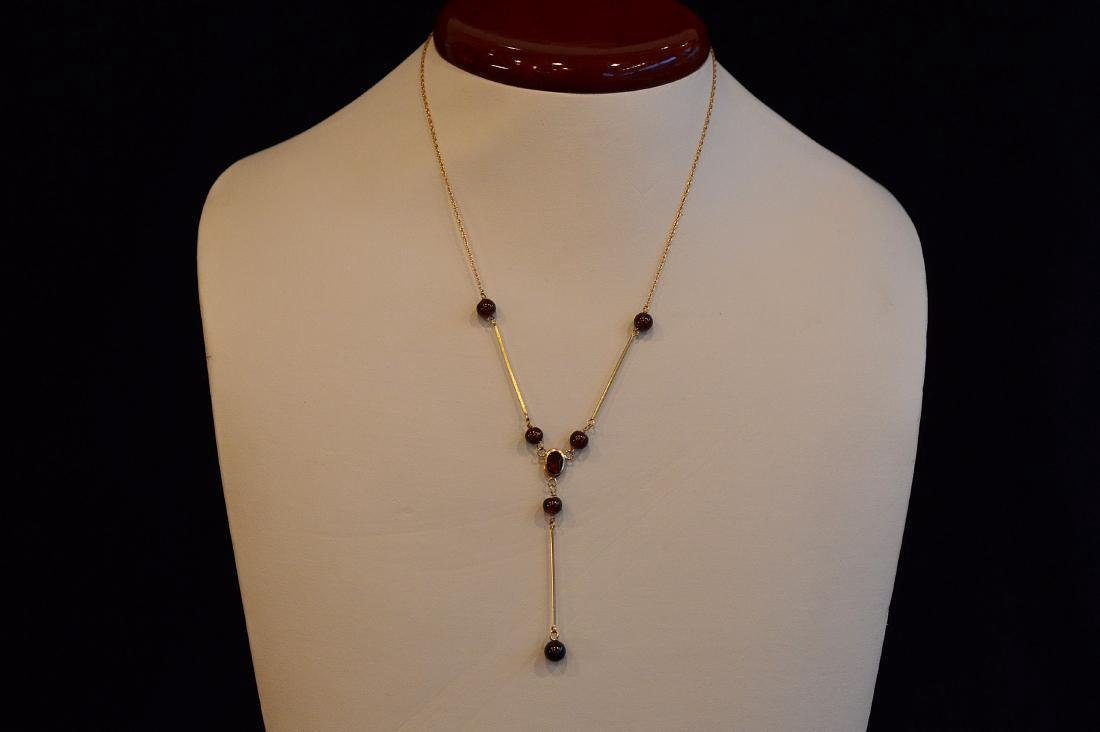 "Ladies 14k Yellow Gold Garnet ""Y"" Necklace"