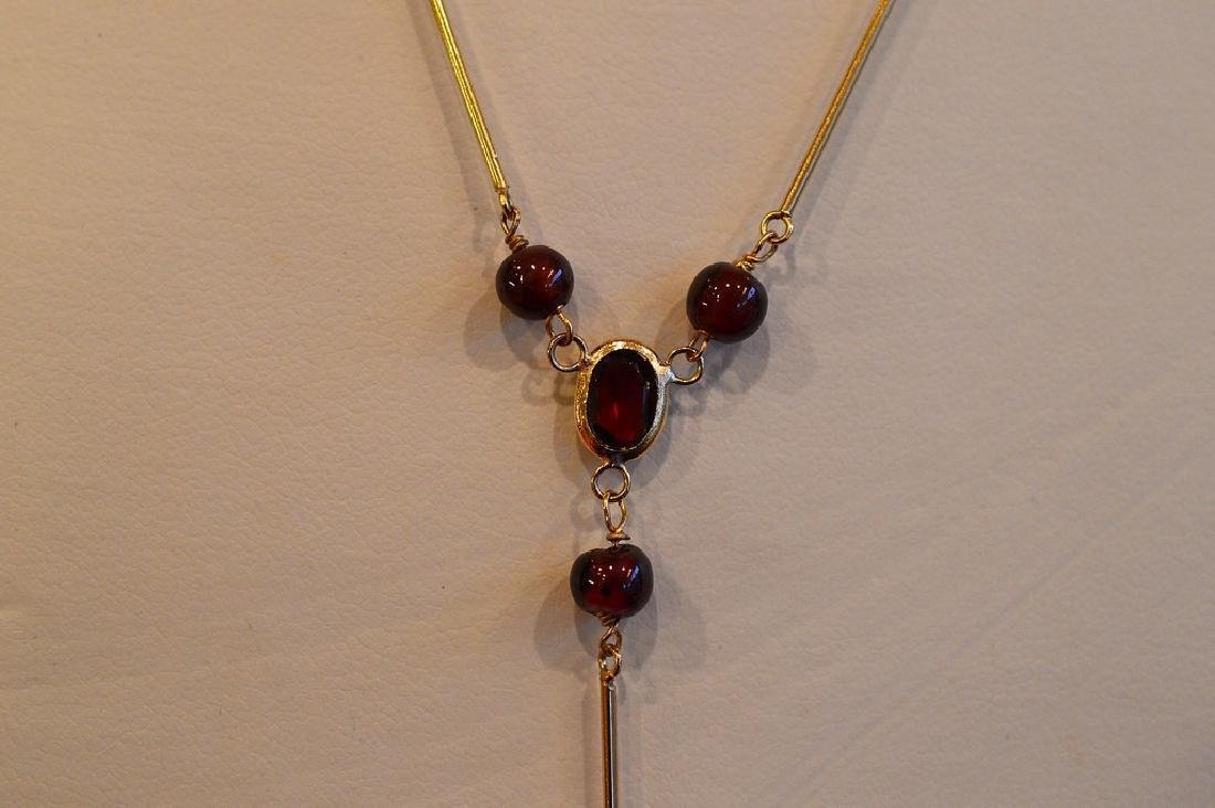 "Ladies 14k Yellow Gold Garnet ""Y"" Necklace - 2"