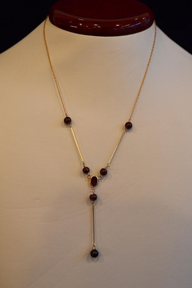"Ladies 14k Yellow Gold Garnet ""Y"" Necklace - 3"