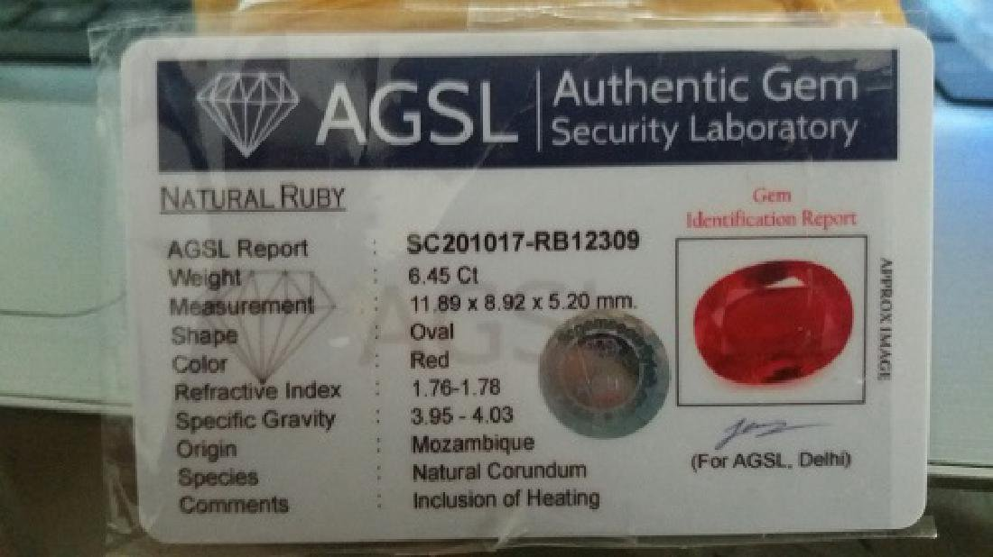 6.45 Carat Loose Natural Blood Red Mozambique Ruby AGSL - 3