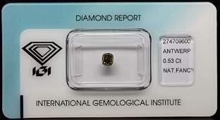 0.53 Carat Loose Natural Fancy Green-Yellow Diamond