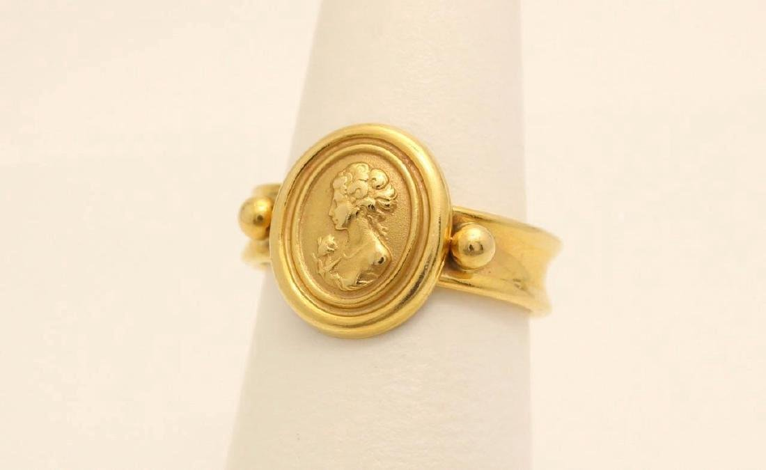 Vintage Italian 14K Yellow Gold Cameo Ring