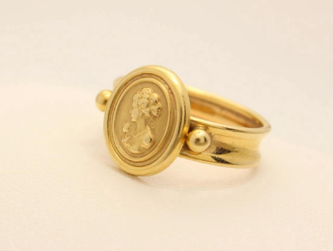 Vintage Italian 14K Yellow Gold Cameo Ring - 2