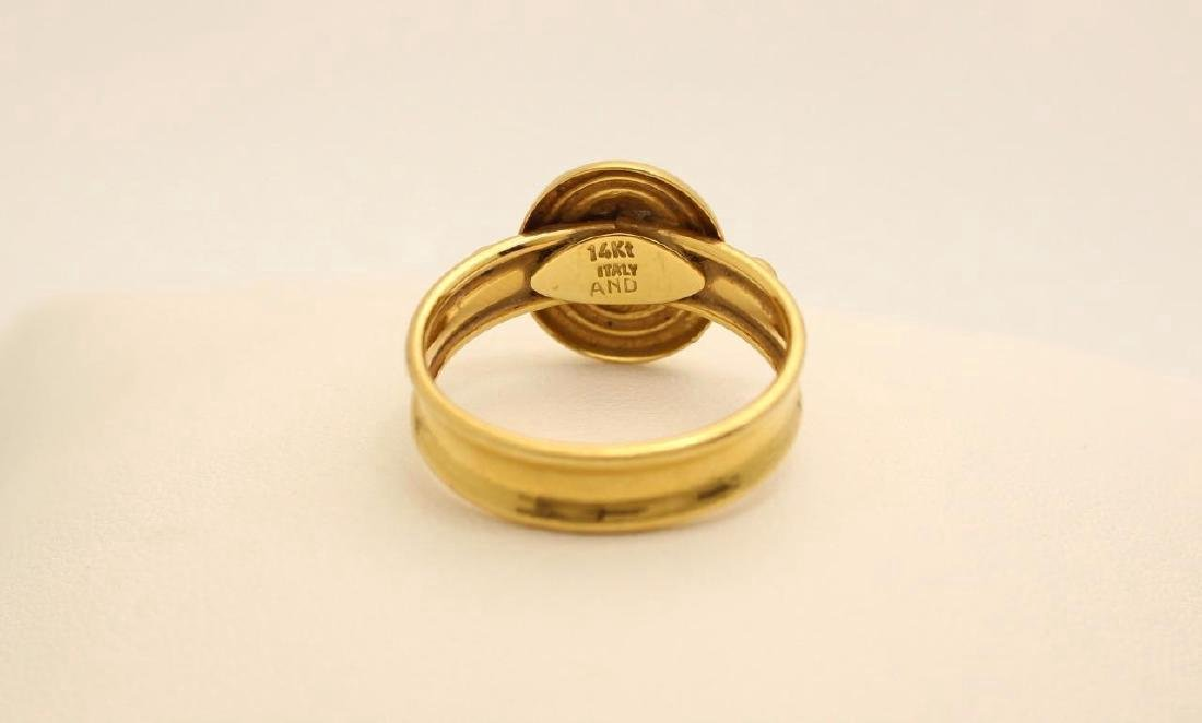 Vintage Italian 14K Yellow Gold Cameo Ring - 3