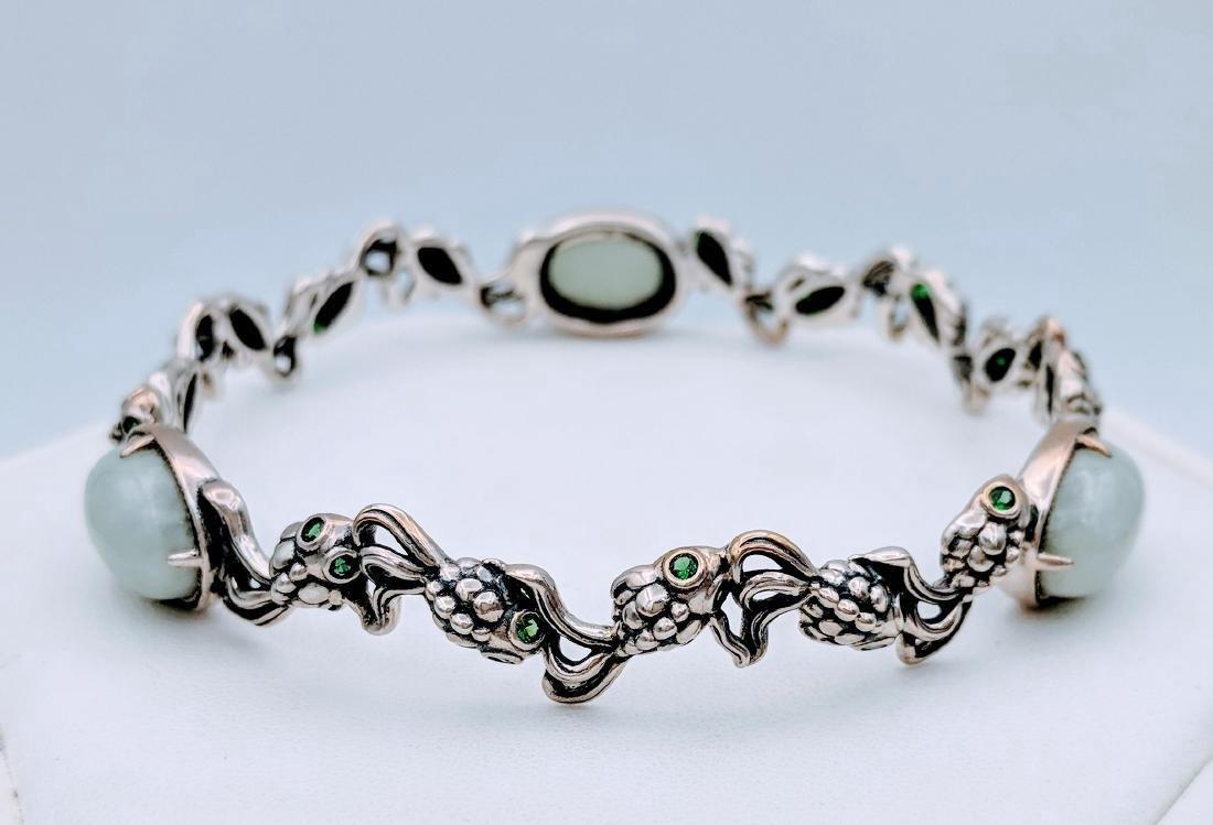 Sterling Silver Koi Jade Emerald Bracelet, .45ctw