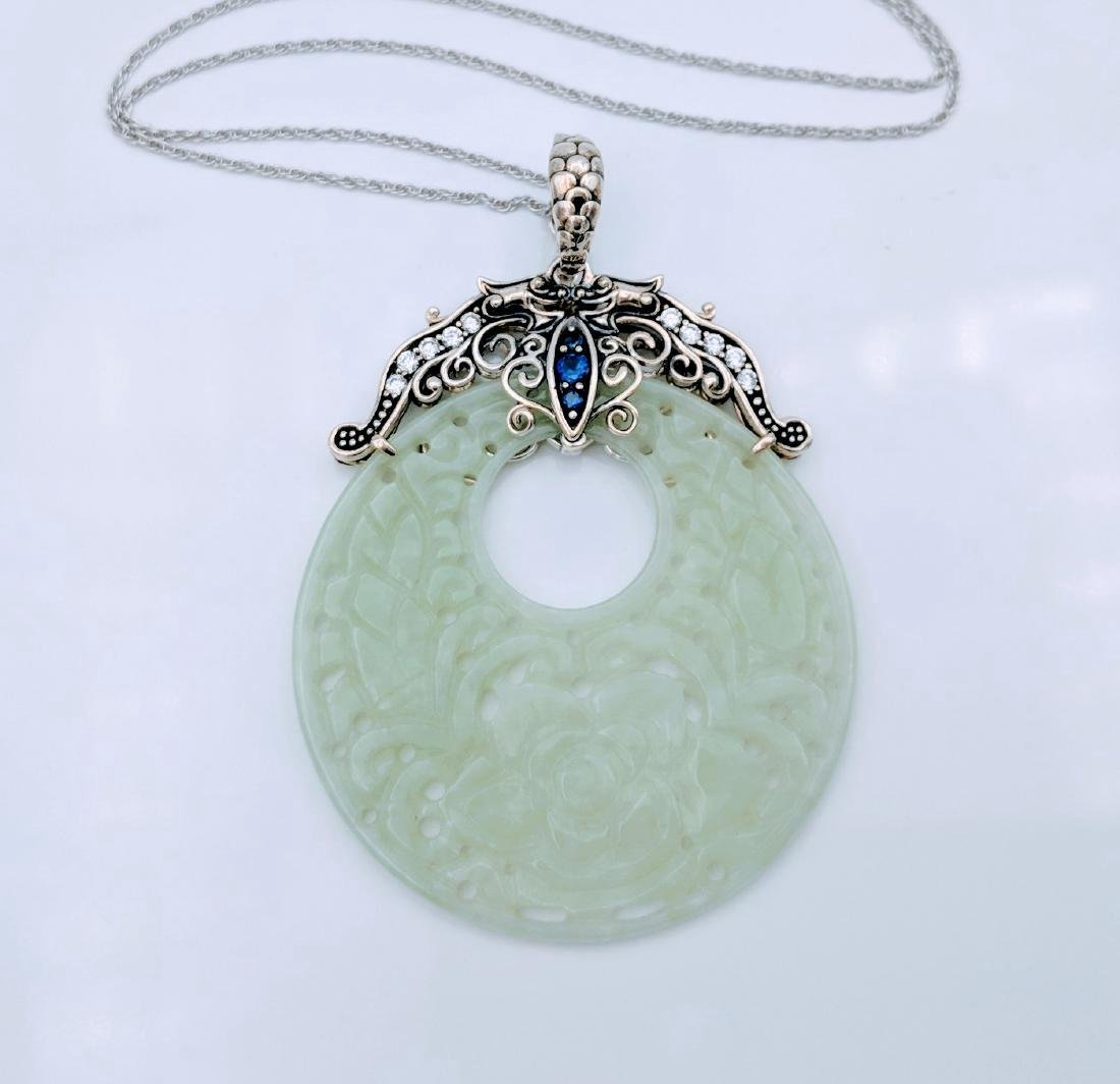 Sterling Silver Jade Sapphire CZ Pendant Necklace