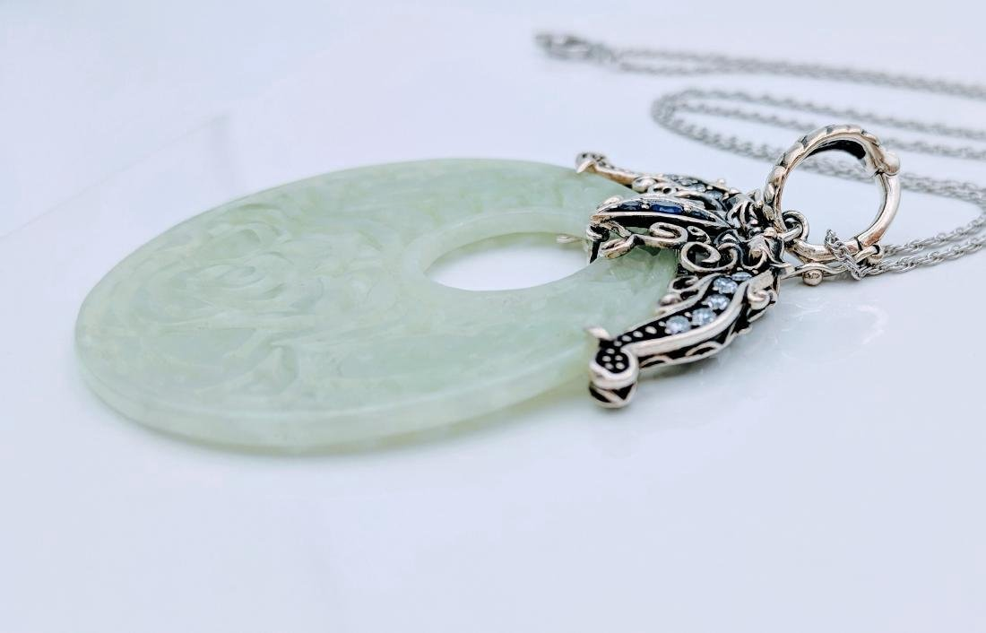 Sterling Silver Jade Sapphire CZ Pendant Necklace - 2