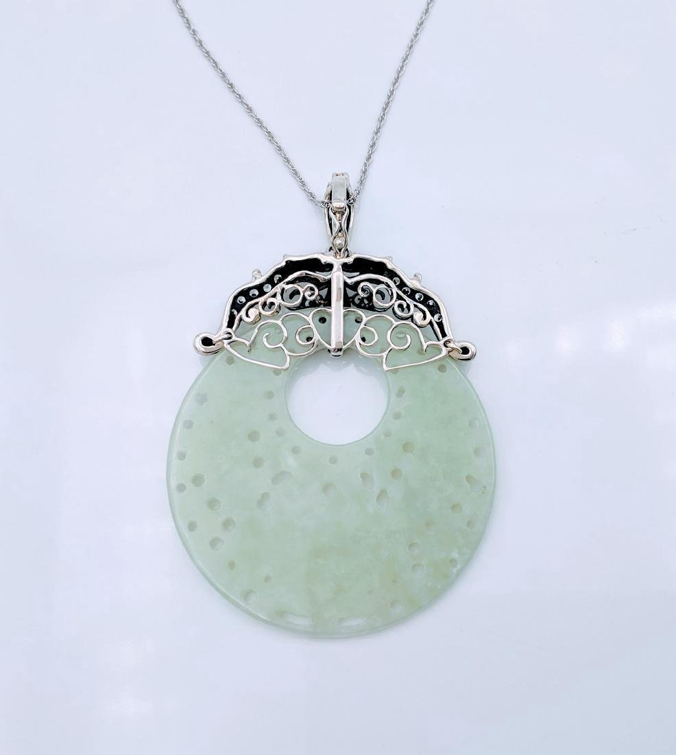 Sterling Silver Jade Sapphire CZ Pendant Necklace - 3