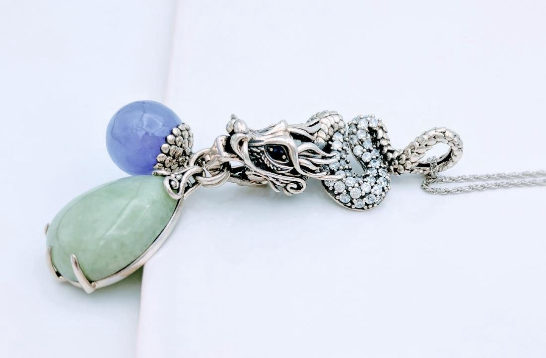 Sterling Silver Jade Sapphire CZ Pendant Necklace - 5