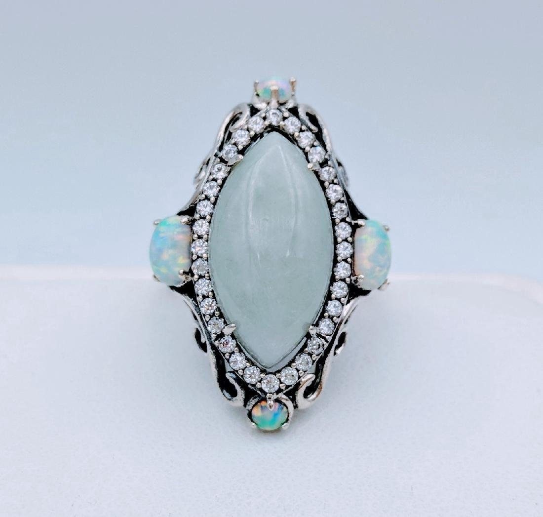 Sterling Silver Jade Opal Cubic Zirconia Ring