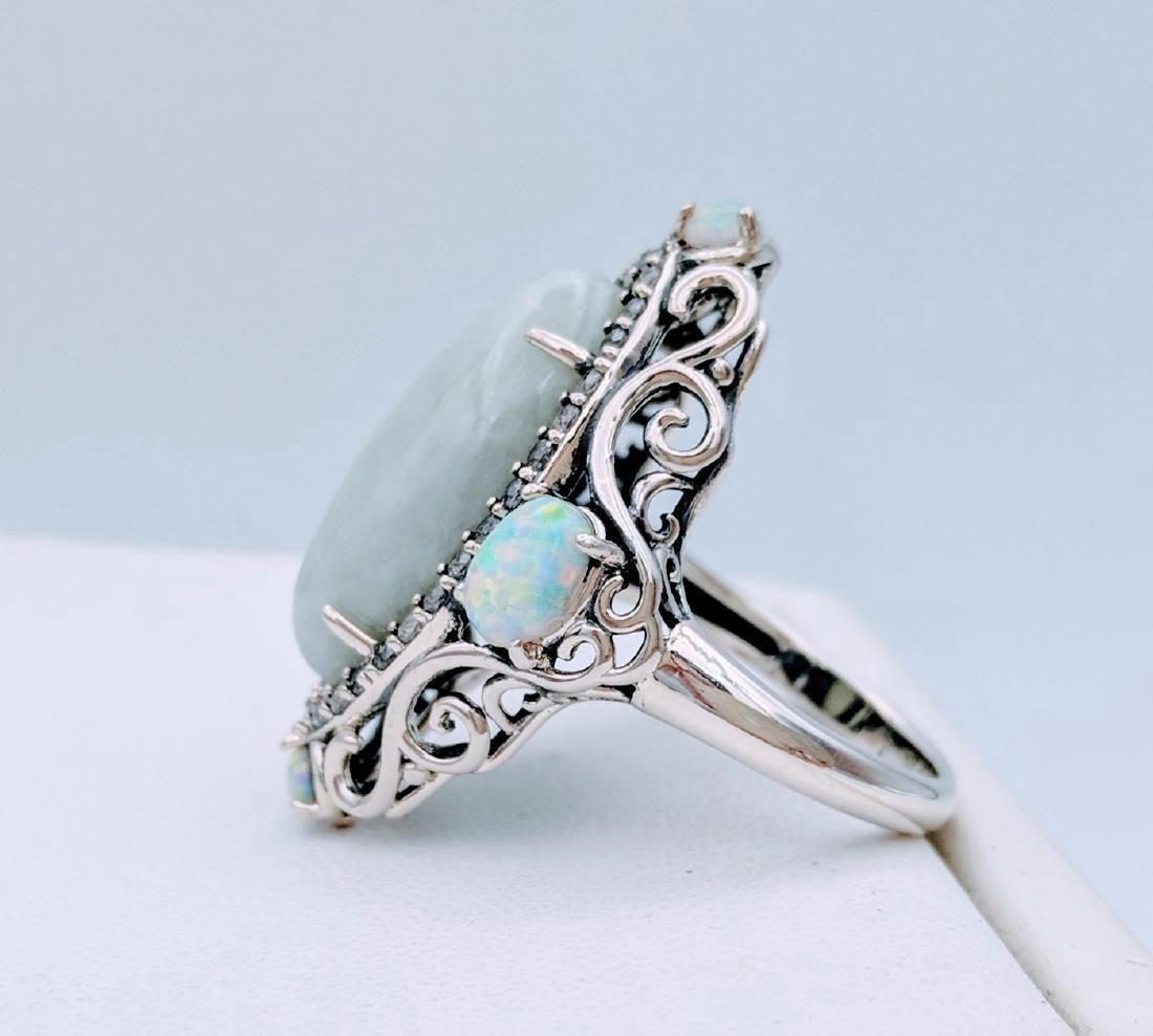 Sterling Silver Jade Opal Cubic Zirconia Ring - 2