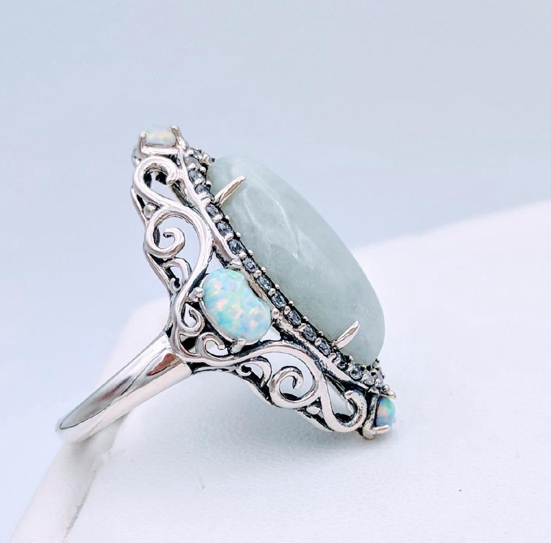 Sterling Silver Jade Opal Cubic Zirconia Ring - 3