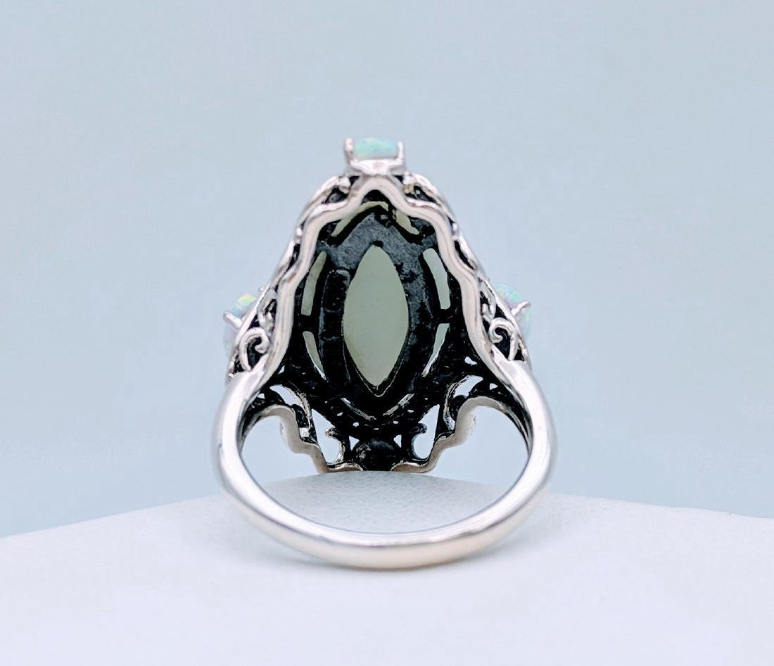 Sterling Silver Jade Opal Cubic Zirconia Ring - 4