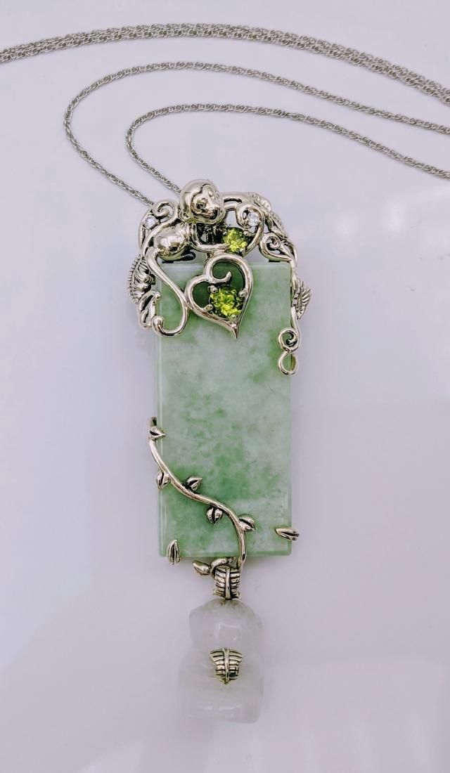 Sterling Silver Peridot Jade Jadeite Pendant Necklace