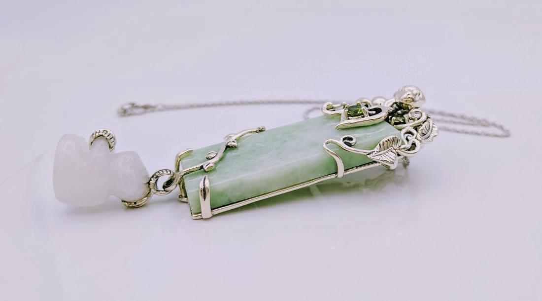 Sterling Silver Peridot Jade Jadeite Pendant Necklace - 2