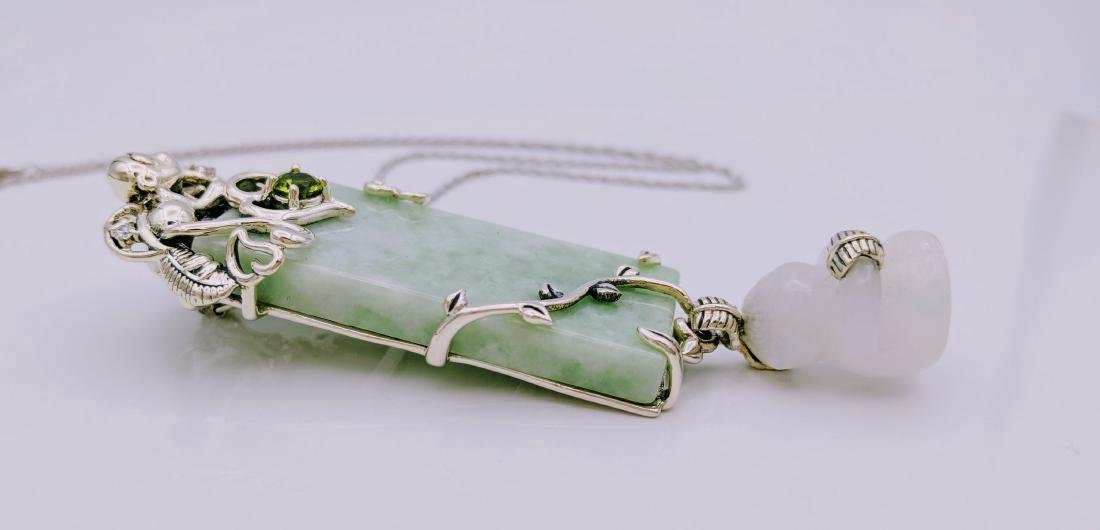 Sterling Silver Peridot Jade Jadeite Pendant Necklace - 3