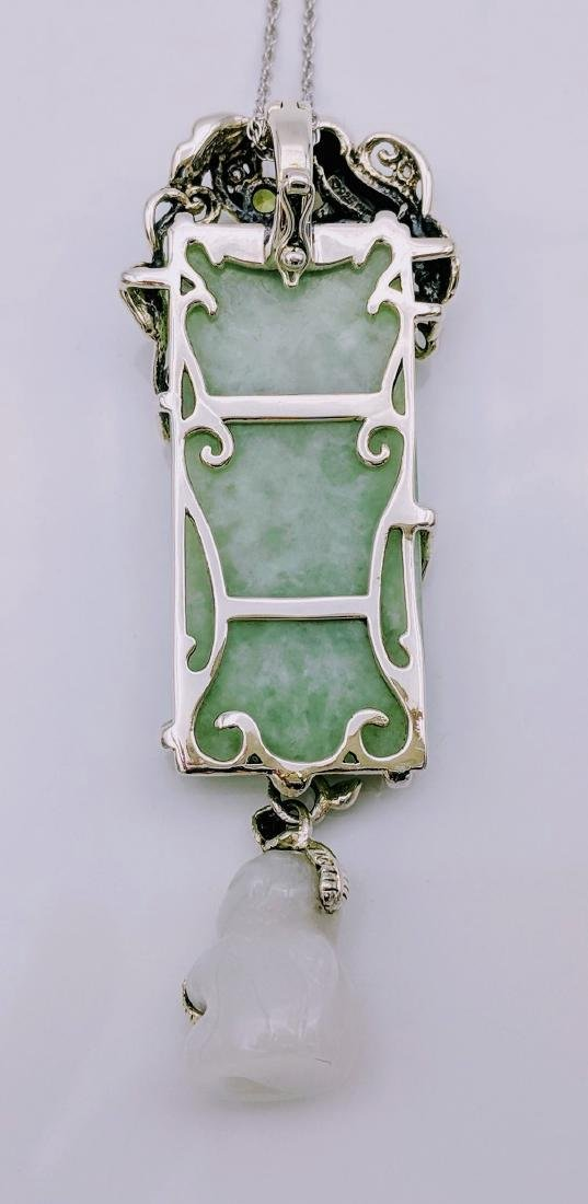 Sterling Silver Peridot Jade Jadeite Pendant Necklace - 4