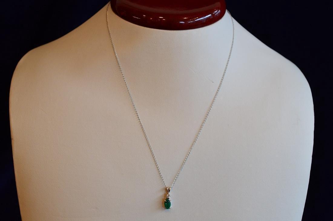 Ladies 14k White Gold Beryl Diamond Drop Necklace
