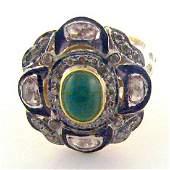 14K Gold Sterling Silver Emerald Diamond Ring