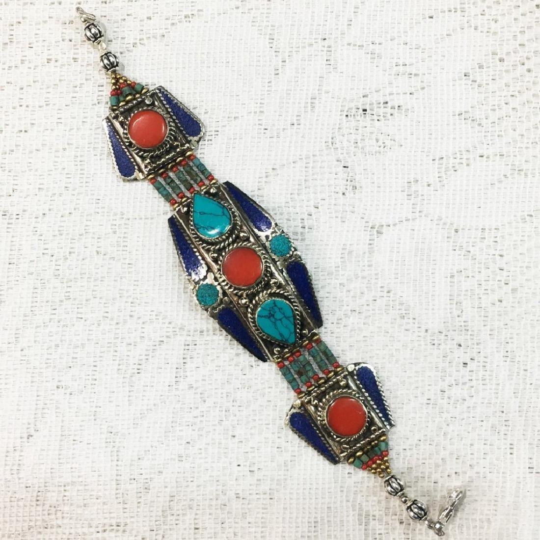 Tibetan Silver Handmade Turquoise & Coral Bracelet