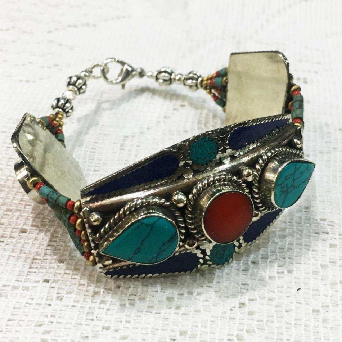 Tibetan Silver Handmade Turquoise & Coral Bracelet - 2