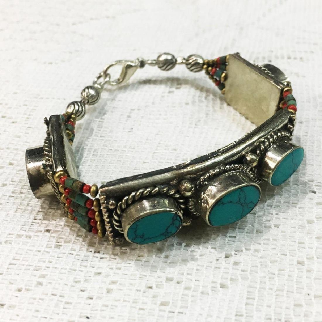Tibetan Silver Turquoise Coral Bracelet - 2