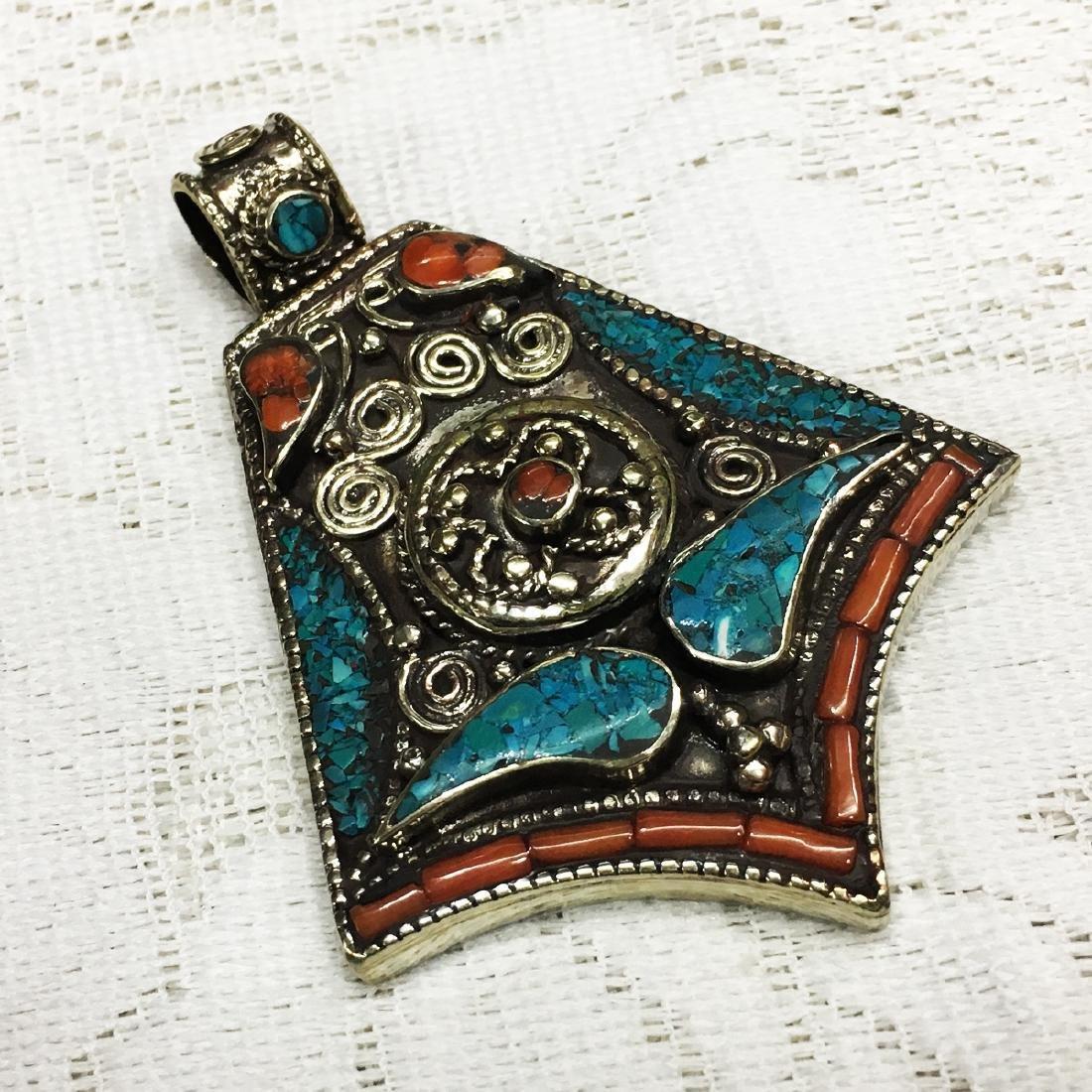 Himalayan Sky Stone Tibetan Silver Turquoise Pendant