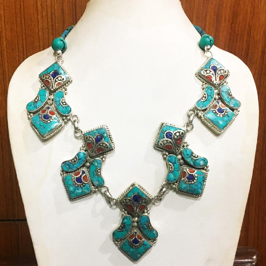Tibetan Silver Turquoise Coral Bohemian Necklace