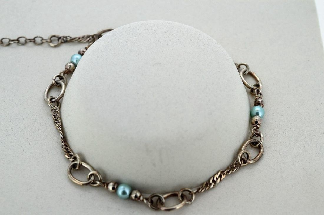 Ladies Sterling Silver Blue Pearl Rope Chain Bracelet