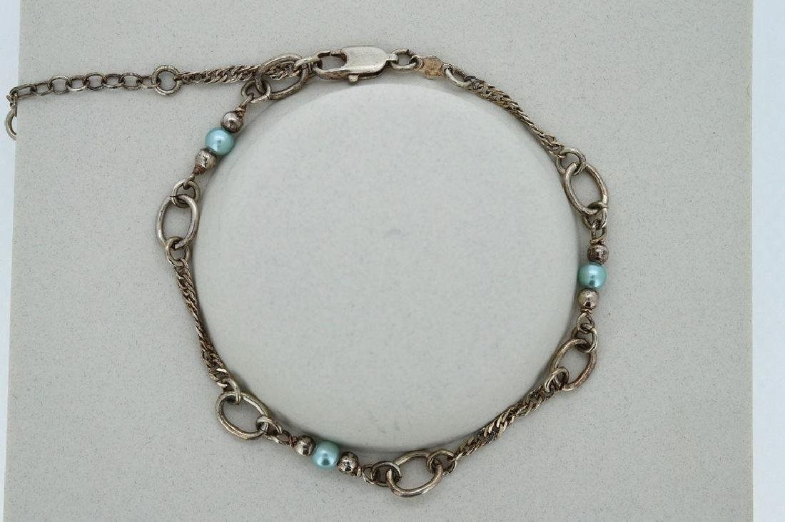 Ladies Sterling Silver Blue Pearl Rope Chain Bracelet - 2