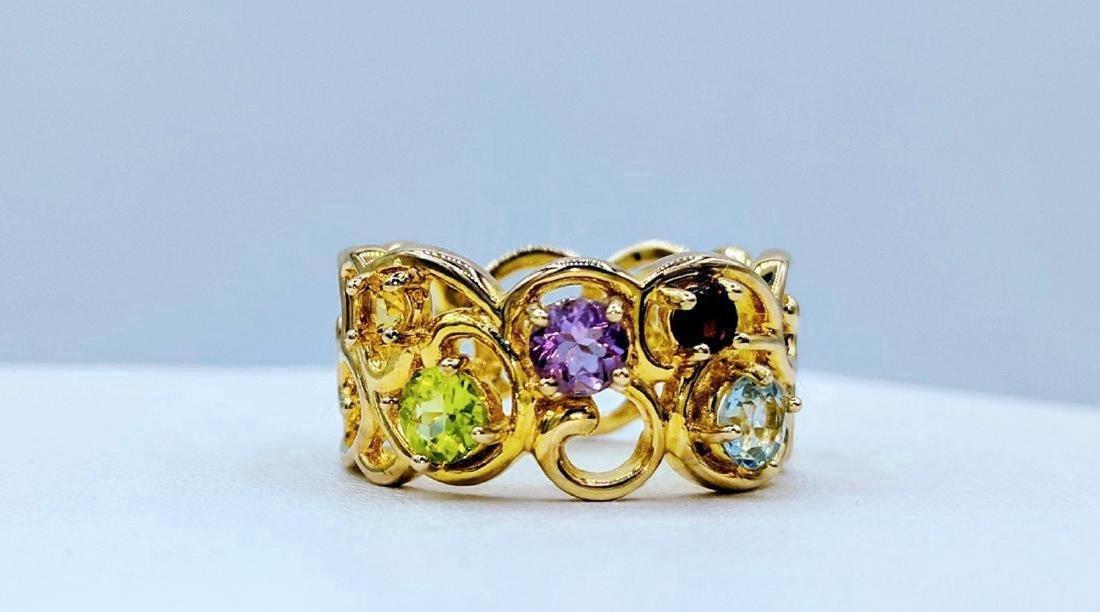 Gold Tone Sterling Silver Multi-Gemstone Ring, .86ctw