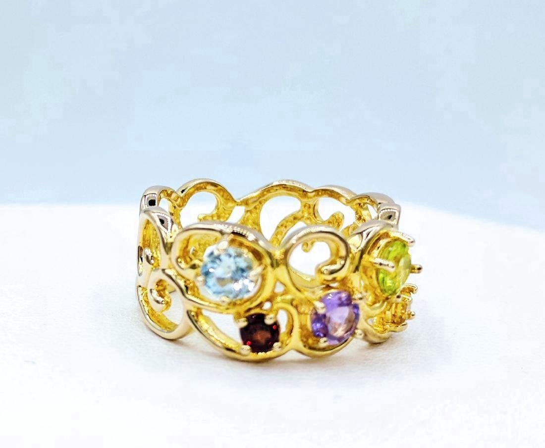 Gold Tone Sterling Silver Multi-Gemstone Ring, .86ctw - 2