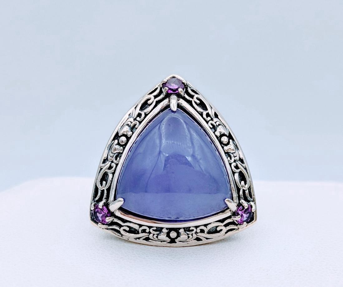 Sterling Silver Violet Jade Amethyst Ring, .33ctw - 2