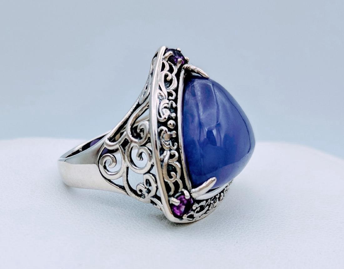 Sterling Silver Violet Jade Amethyst Ring, .33ctw - 3
