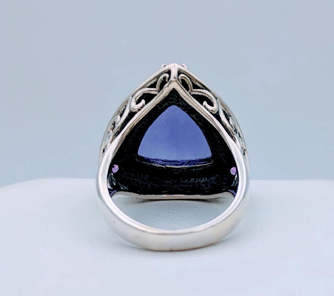 Sterling Silver Violet Jade Amethyst Ring, .33ctw - 4