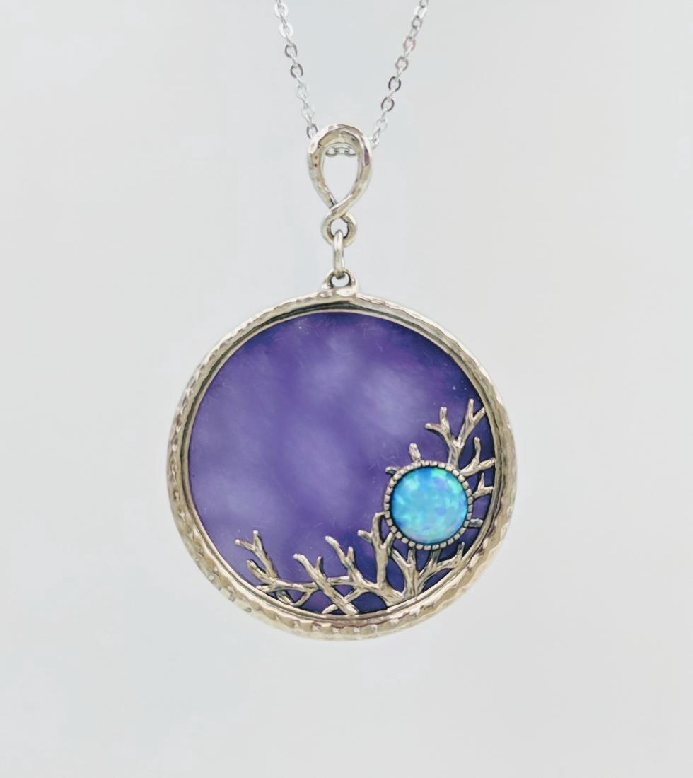 Sterling Silver Violet Jade Blue Opal Pendant Necklace