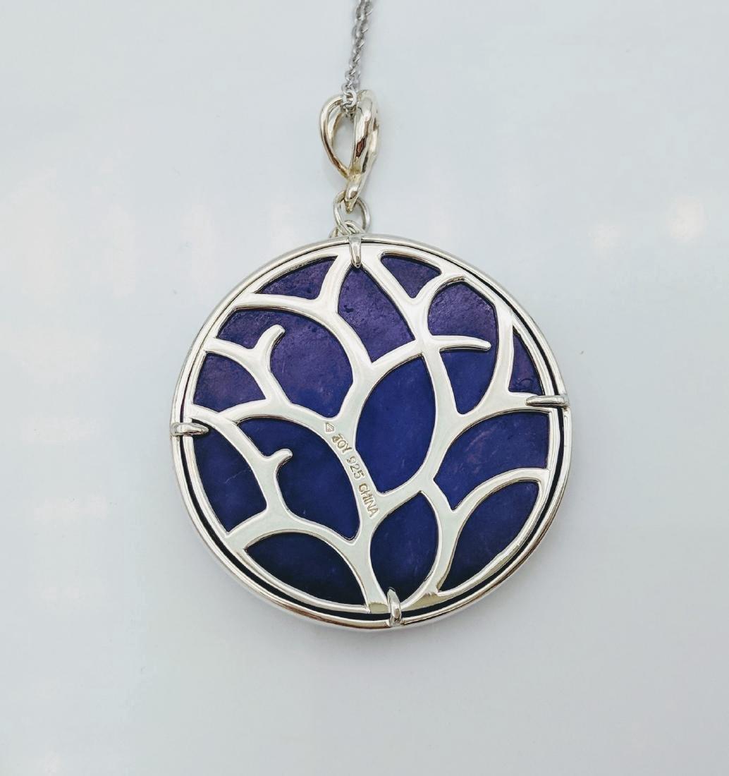 Sterling Silver Violet Jade Blue Opal Pendant Necklace - 3
