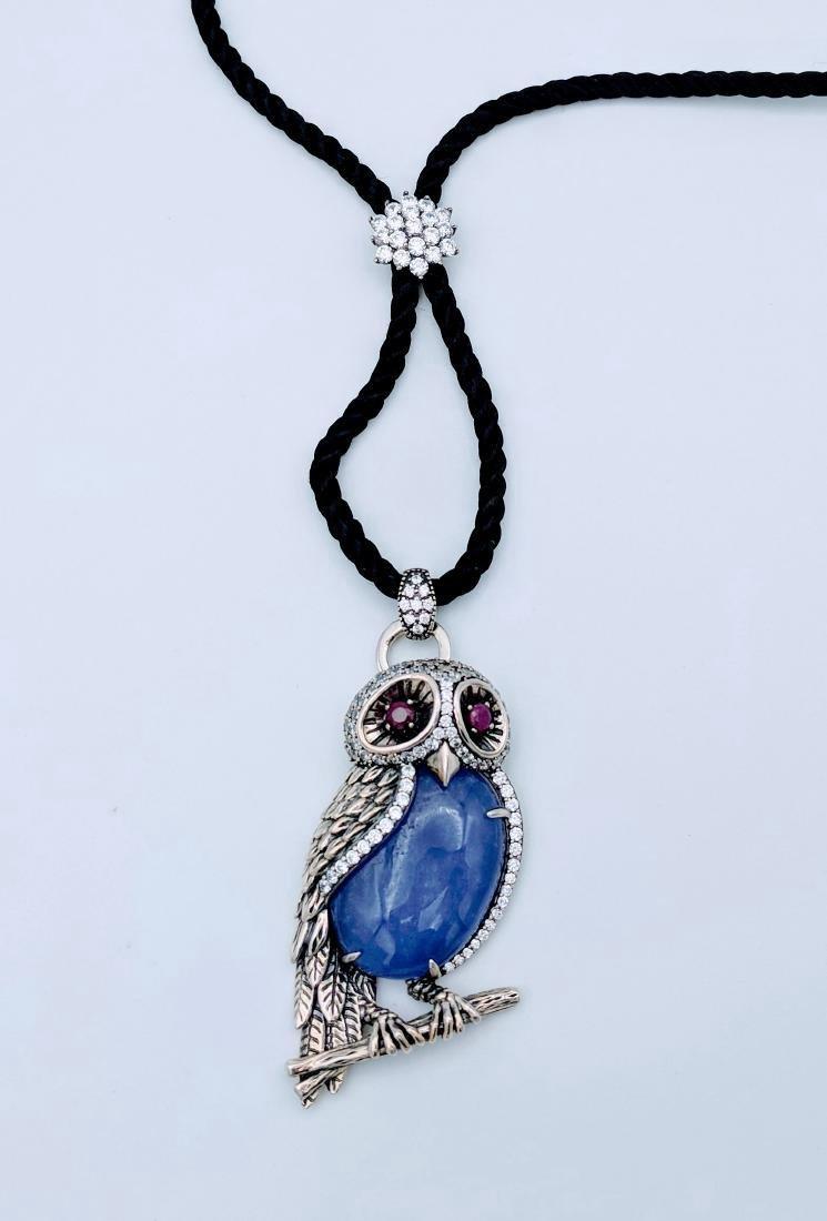 Sterling Silver Jade Ruby CZ Figural Owl Pendant