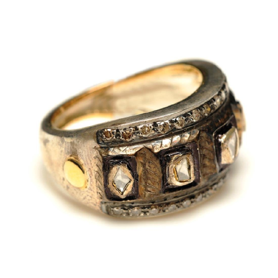14K Gold Sterling Silver Pave Diamond Ring, .53ctw - 2