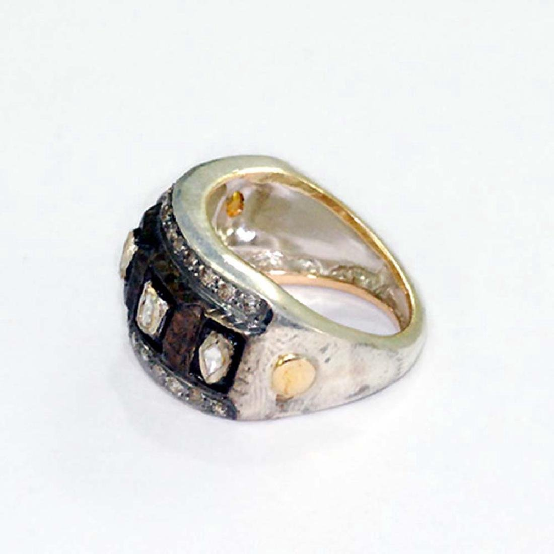 14K Gold Sterling Silver Pave Diamond Ring, .53ctw - 3