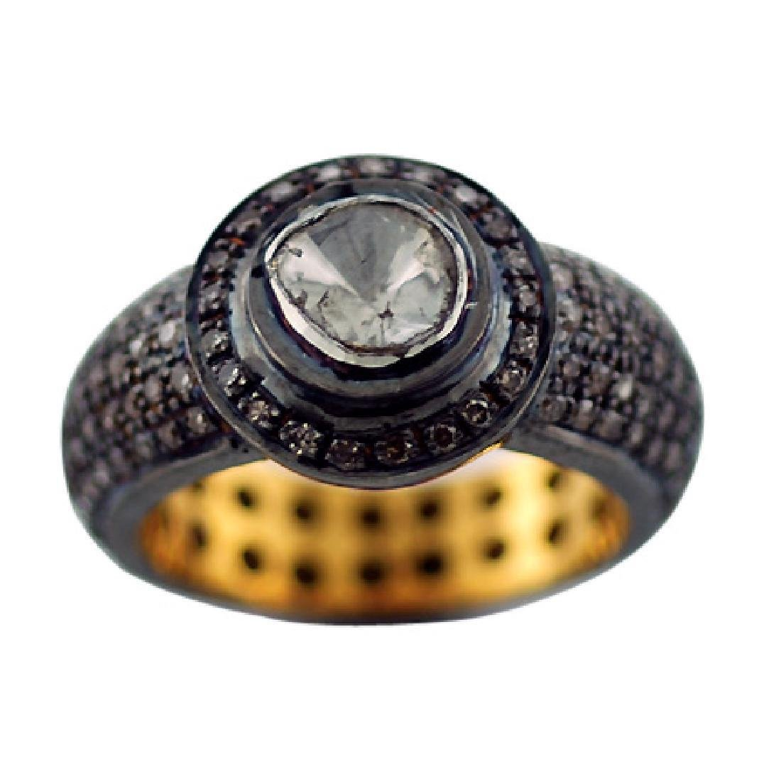 Rhodium Plated Gold Silver Diamond Ring, 1.4ctw