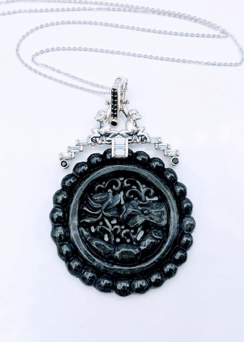 Sterling Silver Nuumite Onyx CZ Pendant Necklace