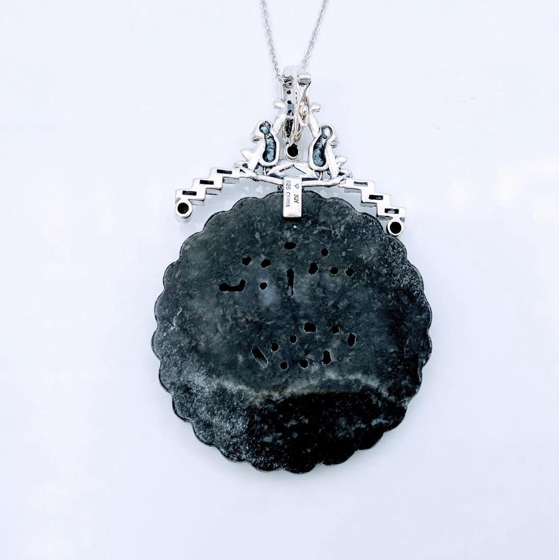 Sterling Silver Nuumite Onyx CZ Pendant Necklace - 3